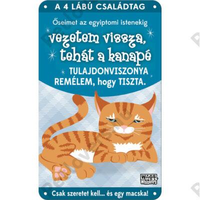 Vörös macskás fém ajtótábla