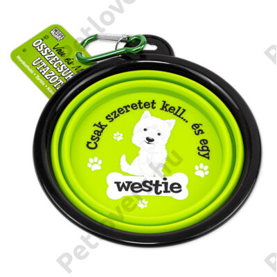 Westie összecsukható utazó kutyatál - w&w