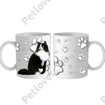 Fekete fehér cicás bögre - xoxo