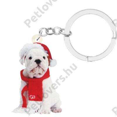 Angol Bulldog karácsonyos kulcstartó