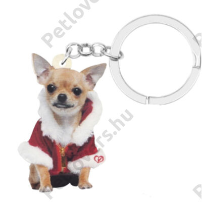 Chihuahua karácsonyos kulcstartó