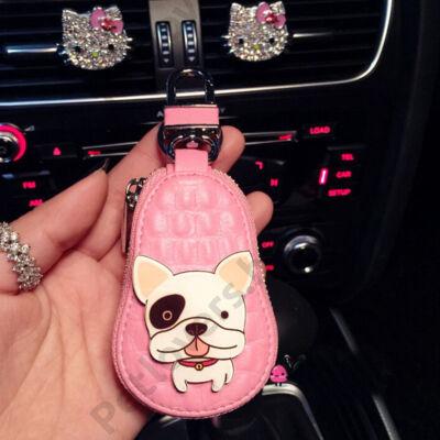 Francia Bulldog bőr kulcstartó - pink