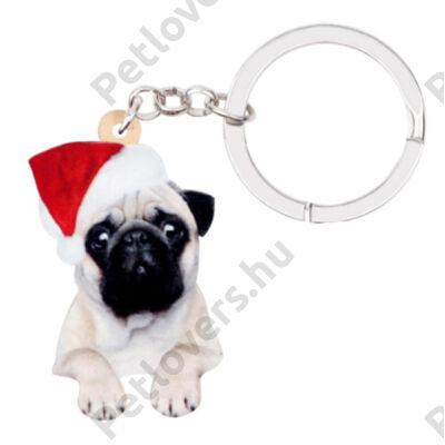 Mopsz karácsonyi kulcstartó