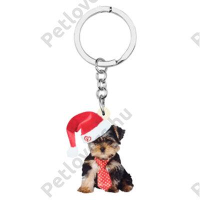 Yorkie karácsonyos kulcstartó