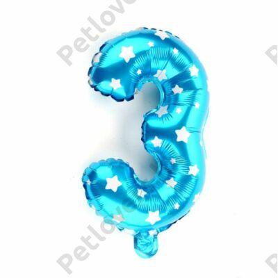 3-as Formájú Héliumos Fólia Lufi - kék