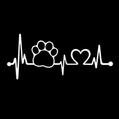 EKG mancs és szív matrica - fehér