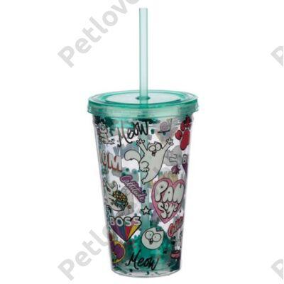 """Simon""""s Cat csillámos szívószálas pohár"""