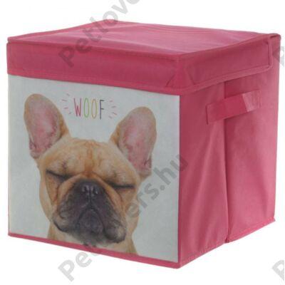 Francia Bulldog mintás tároló doboz