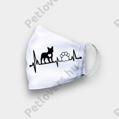 Francia Bulldog mintás szájmaszk - ekg
