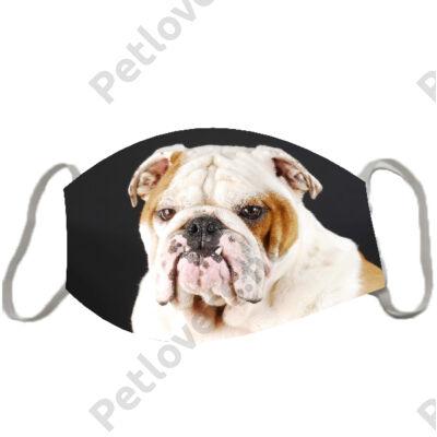 Angol Bulldog mintás szájmaszk - fekete