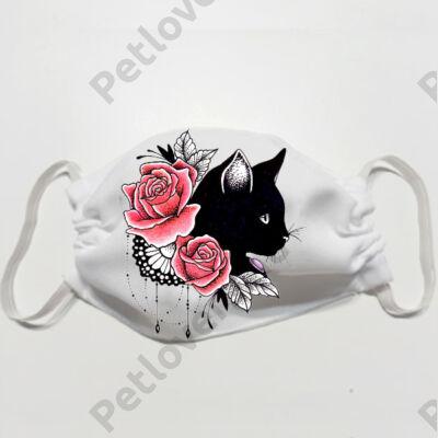 Macska mintás szájmaszk - rose
