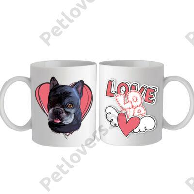 Francia Bulldogos bögre - love