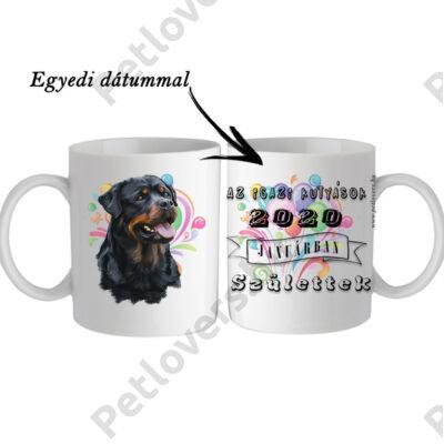 Rottweiler születésnapi bögre - egyedi dátummal