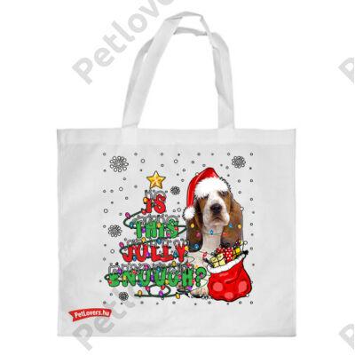 Basset hound mintás karácsonyi bevásárló táska