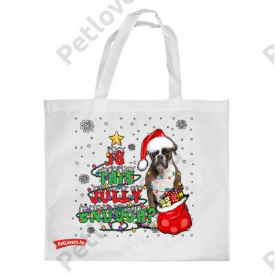 Boxer mintás karácsonyi bevásárló táska