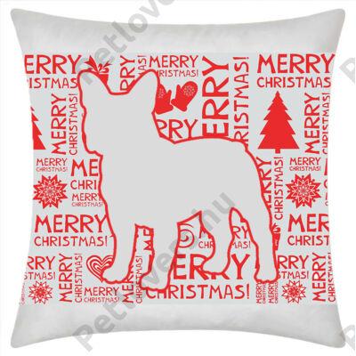 Francia Bulldog mintás karácsonyi párna