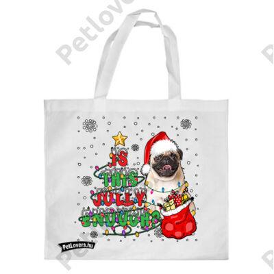 Mopsz mintás karácsonyi bevásárló táska