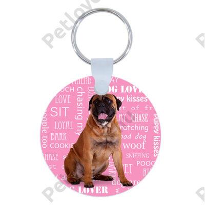 Bullmastiff kulcstartó - rózsaszín