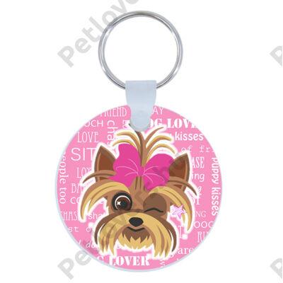 Yorkie kulcstartó - rózsaszín