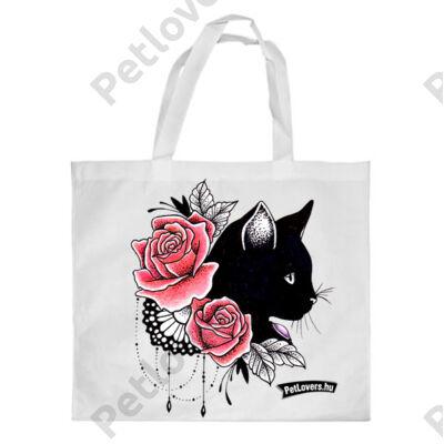 Macskás bevásárló táska - rose