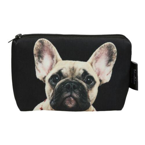 Francia Bulldog mintás kozmetikai táska - bézs