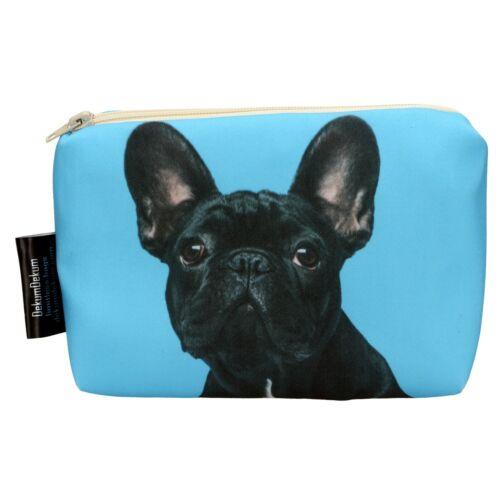 Francia Bulldog mintás kozmetikai táska - fekete
