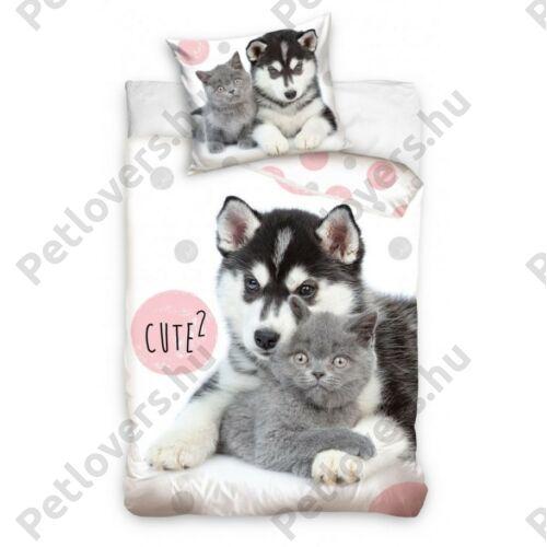 Husky és cica mintás ágynemű - cute