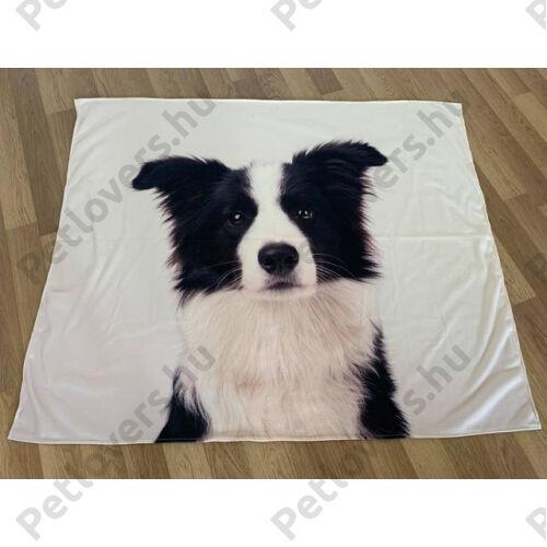 Border Collie mintás takaró - fehér