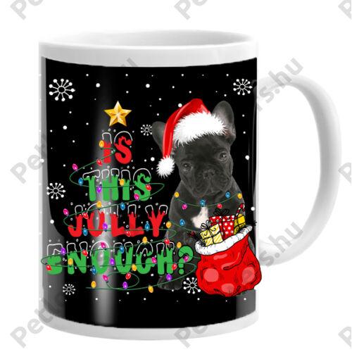 Francia Bulldog mintás karácsonyi bögre