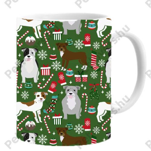 Pitbull mintás karácsonyi bögre - zöld