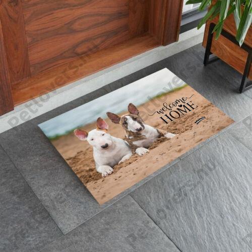 Bullterrier mintás lábtörlő - welcome