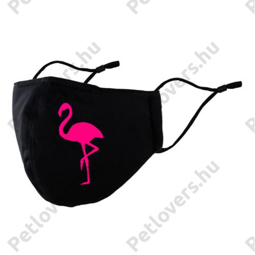 Flamingo mintás fekete szájmaszk - Pink