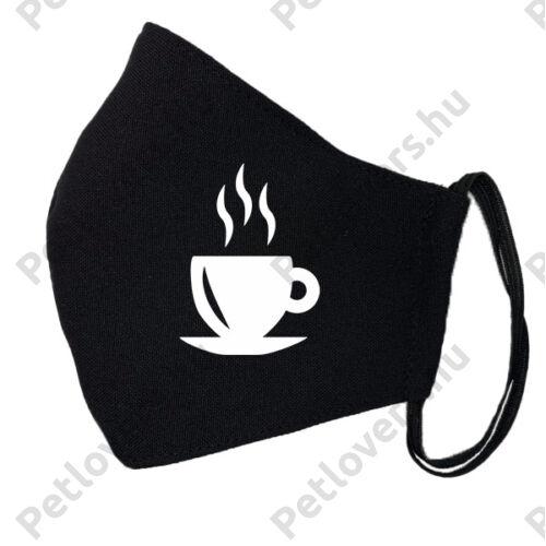 Kávé mintás fekete szájmaszk