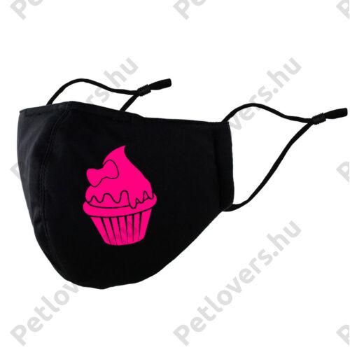 Muffin mintás fekete szájmaszk - Pink