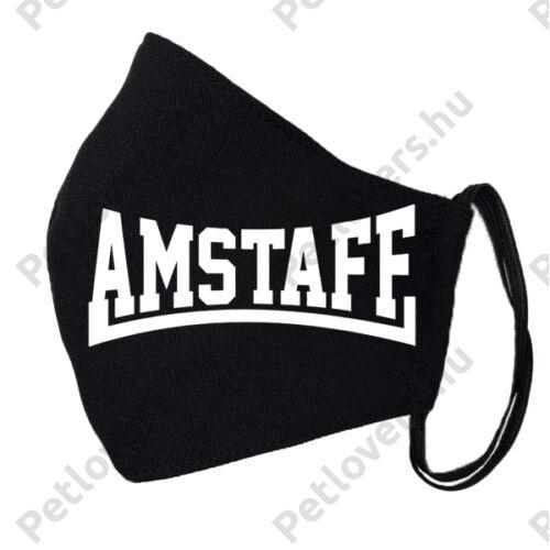 Amstaff mintás fekete szájmaszk - felírat