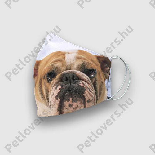 Angol Bulldog mintás szájmaszk - fej