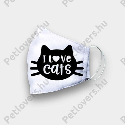 Cica mintás szájmaszk - cats love