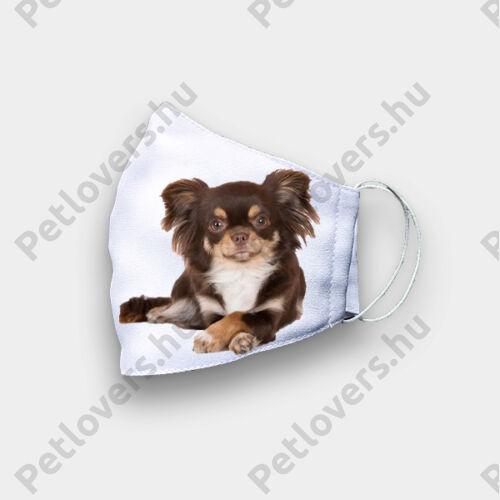 Chihuahua mintás szájmaszk - barna