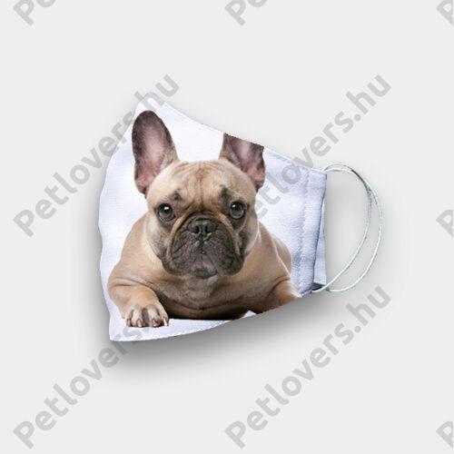 Francia Bulldog mintás szájmaszk - bézs