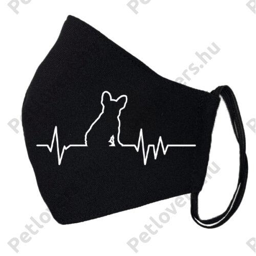 Francia Bulldog mintás fekete szájmaszk - ekg
