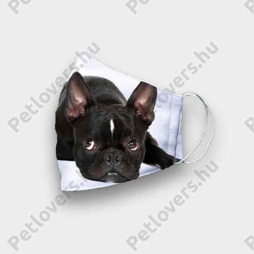 Francia Bulldog mintás szájmaszk - fekete