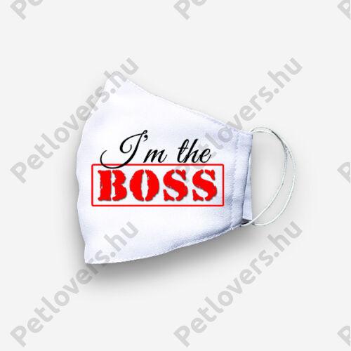 Fehér mintás szájmaszk - A főnök én vagyok