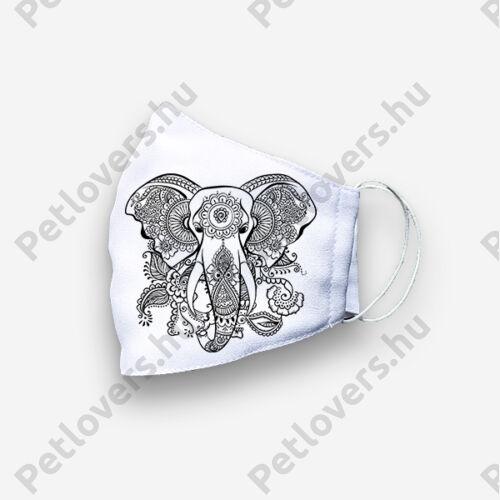 Mandala mintás szájmaszk - elefánt