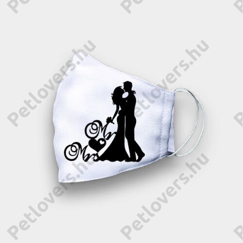 Esküvőre szájmaszk - mr & mrs