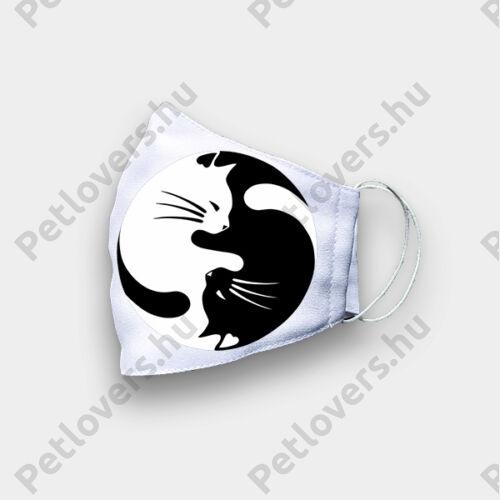 Cica mintás szájmaszk - ying yang