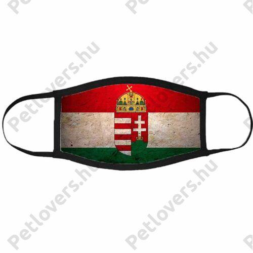 Magyarország címer mintás szájmaszk fekete peremmel