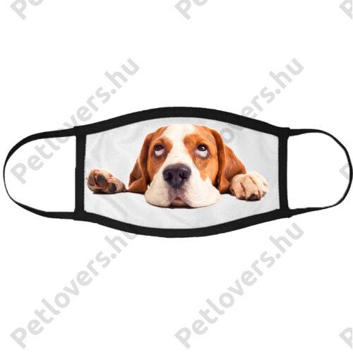 Beagle mintás szájmaszk fekete peremmel - fekvő