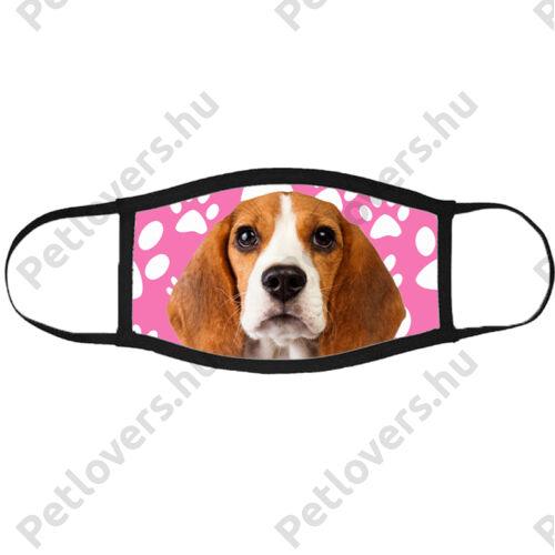 Beagle mintás szájmaszk fekete peremmel - mancsos