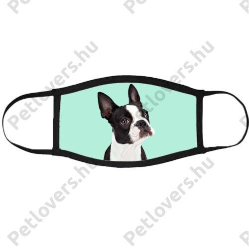 Boston Terrier mintás szájmaszk fekete peremmel - zöld