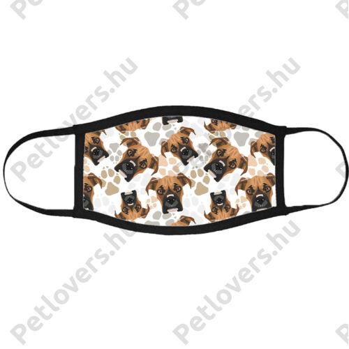 Boxer mintás szájmaszk fekete peremmel - fejek